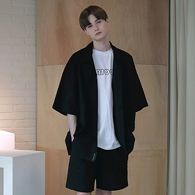[엠오오] MOO - Oversize Washed Linen Shirts Black 워시드 린넨 오버사이즈 셔츠