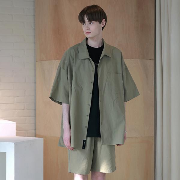 [엠오오] MOO - Oversize Washed Linen Shirts Khaki 워시드 린넨 오버사이즈 셔츠
