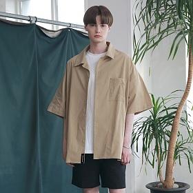 [엠오오] MOO - Oversize Washed Linen Shirts Beige 워시드 린넨 오버사이즈 셔츠