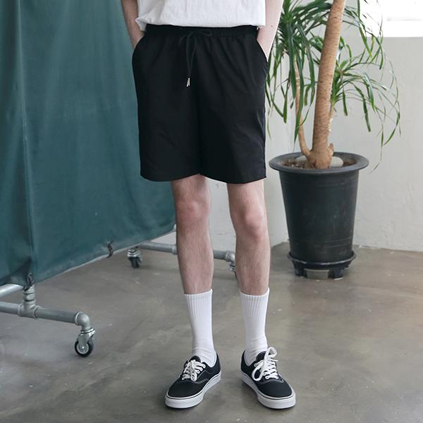 [엠오오] MOO - Basic Washed Linen Half Pants Black 린넨 하프팬츠 반바지