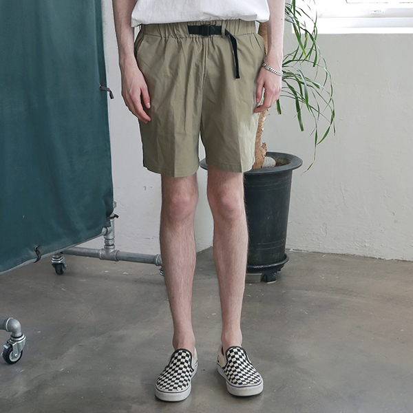 [엠오오] MOO - Utility Washed Linen Short Pants Khaki 린넨 쇼트팬츠 반바지