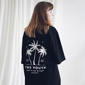 아더로브 유니섹스 팜트리 티셔츠 ATS191002-BK