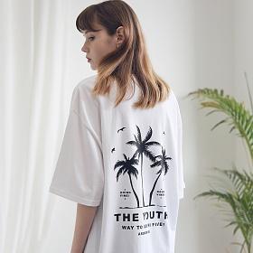 아더로브 유니섹스 팜트리 티셔츠 ATS191002-WT