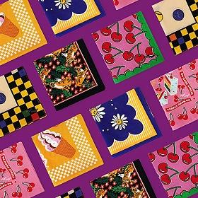 위글위글 - 패턴 손수건 면손수건 쁘띠 스카프 반다나 스카프 다용도손수건