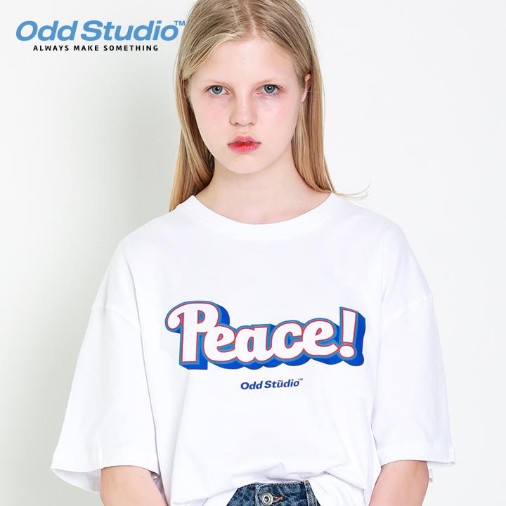 오드스튜디오 피스 로고 티셔츠 - WHITE