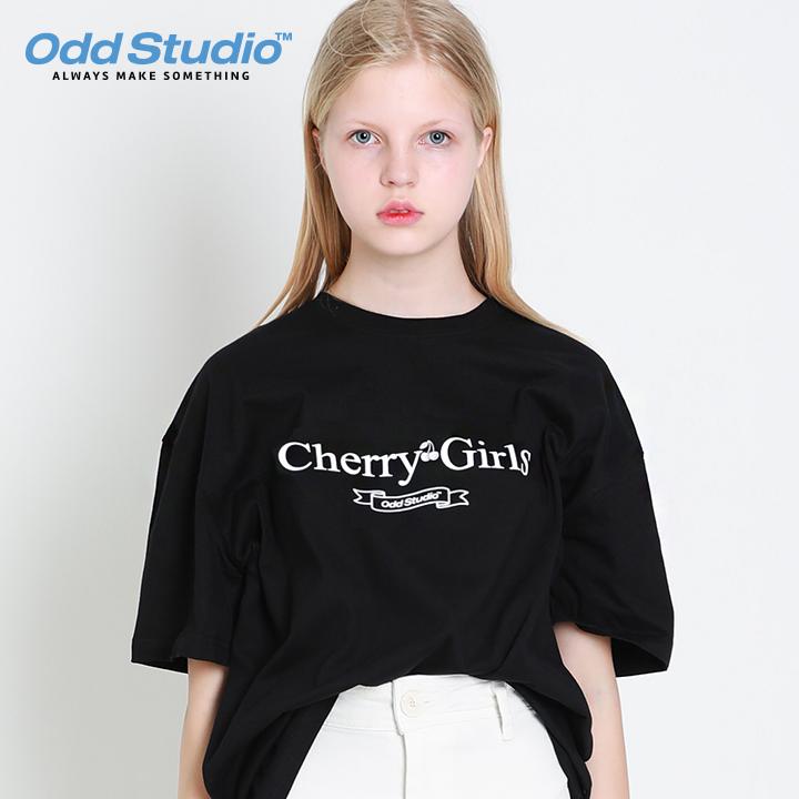 오드스튜디오 체리걸스 티셔츠 - BLACK