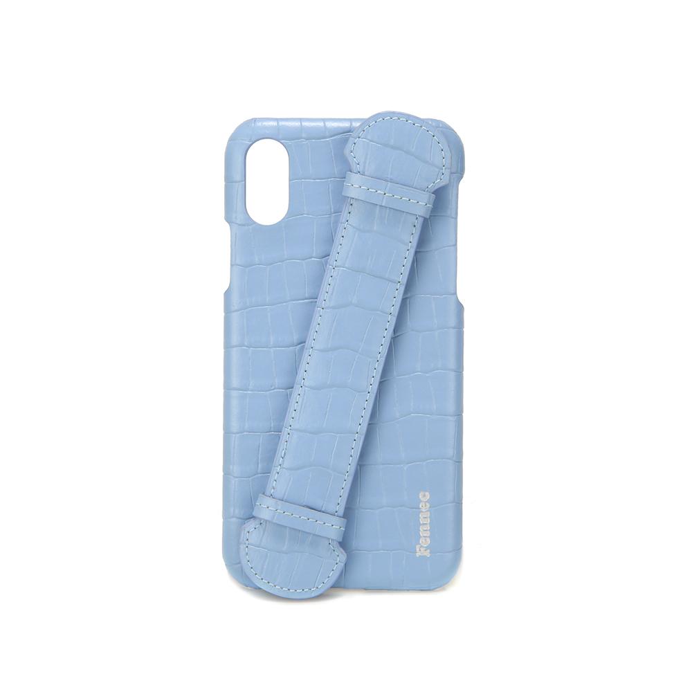 [페넥] FENNEC LEATHER iPHONE X/XS HANDLE CASE - CROCO FOG BLUE 아이폰케이스