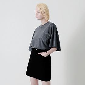 [엠오오] MOO - 피그먼트 포켓 오버 반팔티 다크그레이