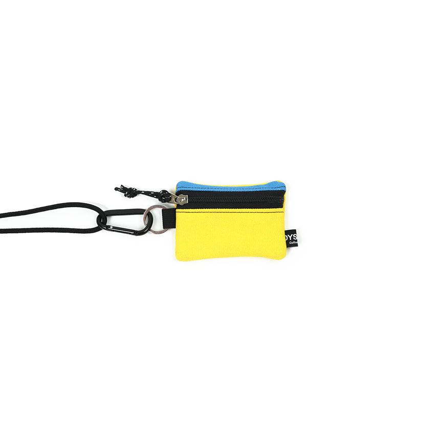 [오이스터컬쳐클럽] 목걸이 동전 카드 지갑 캔버스 마이크로 비너 파우치 스카이 옐로우