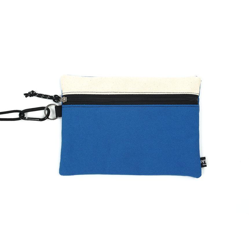 [오이스터컬쳐클럽] 캔버스 라지 투톤 컬러 비너 투톤 파우치 베이지 블루