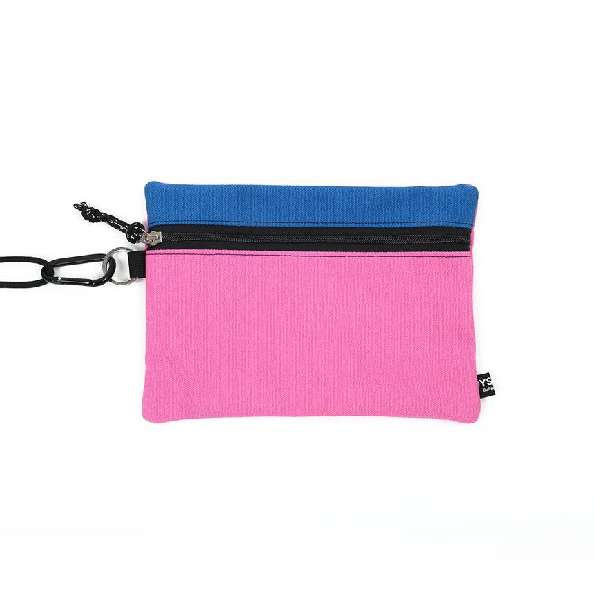 [오이스터컬쳐클럽] 캔버스 라지 투톤 컬러 비너 투톤 파우치 블루 핑크