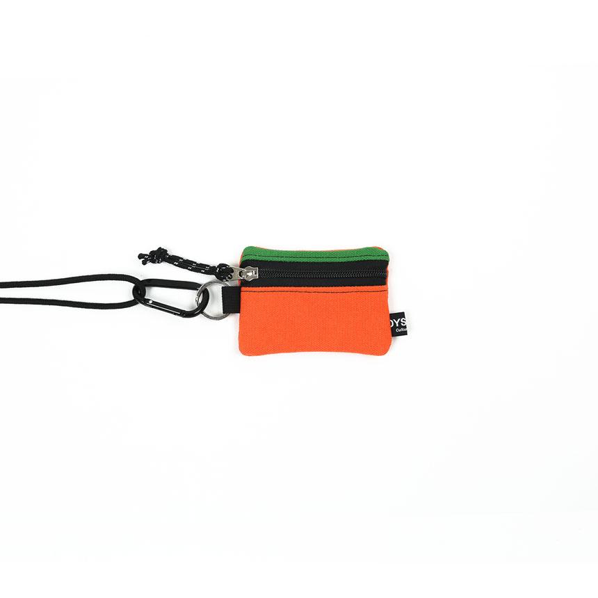 [오이스터컬쳐클럽] 목걸이 동전 카드 지갑 캔버스 마이크로 비너 파우치 그린 오렌지