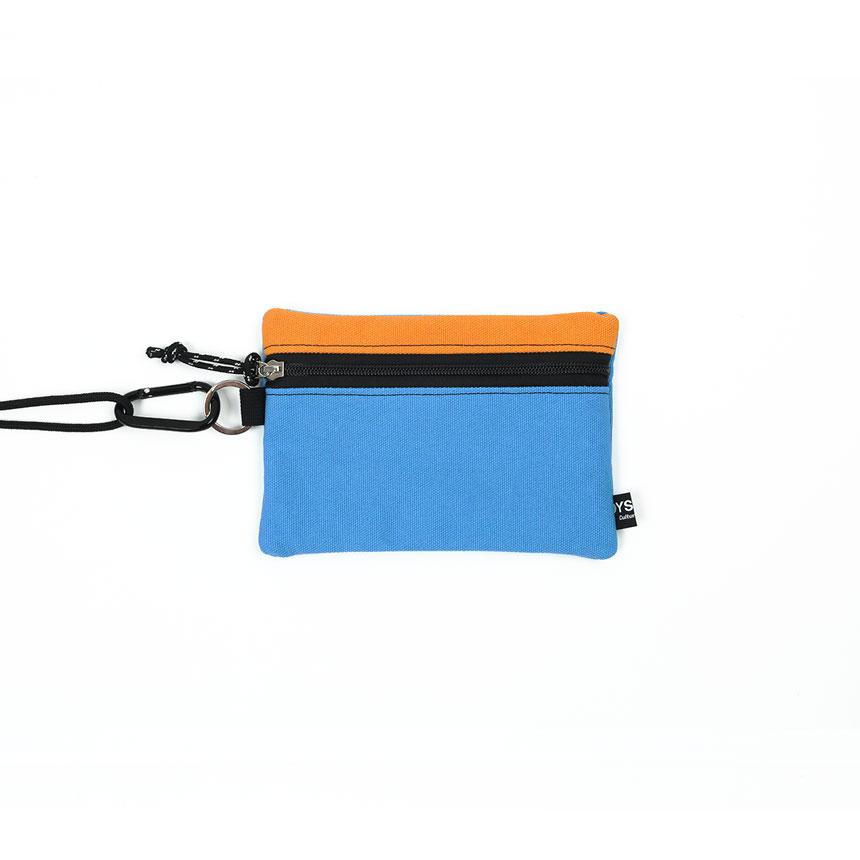 [오이스터컬쳐클럽] 캔버스 미디움 투톤 컬러 비너 투톤 파우치 다크옐로우 스카이