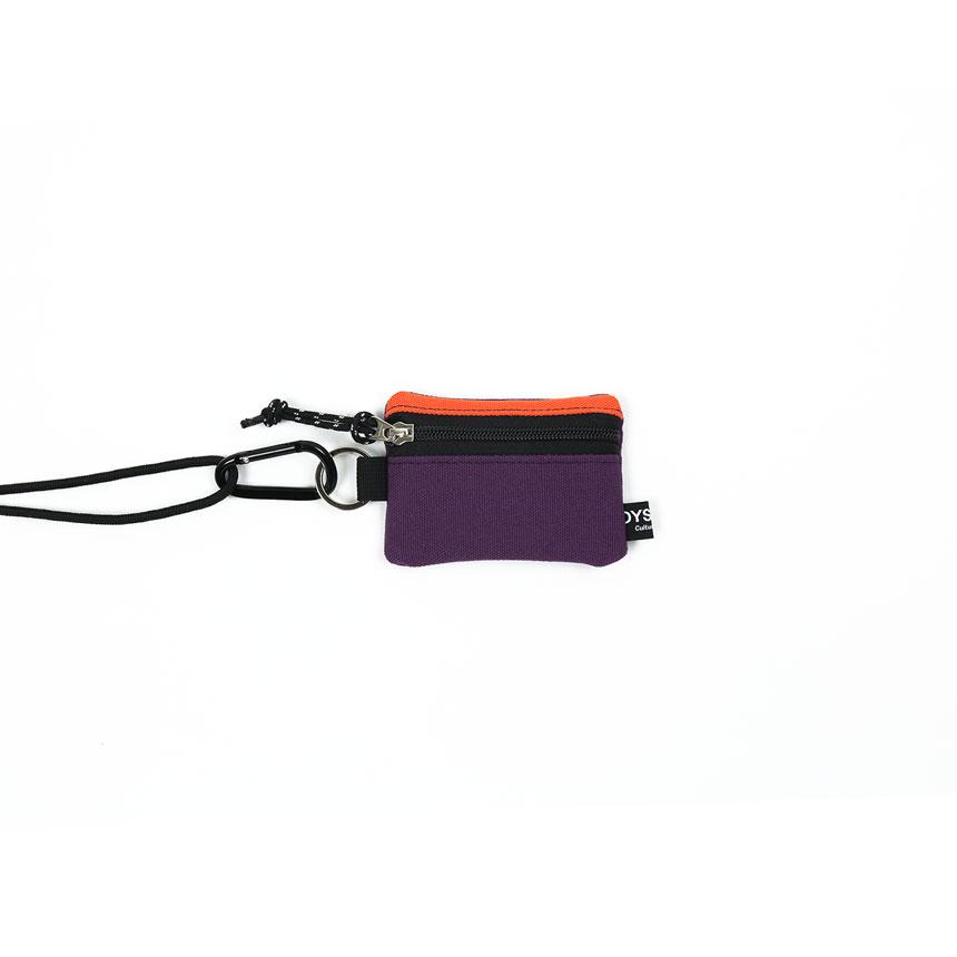 [오이스터컬쳐클럽] 목걸이 동전 카드 지갑 캔버스 마이크로 비너 파우치 오렌지 퍼플