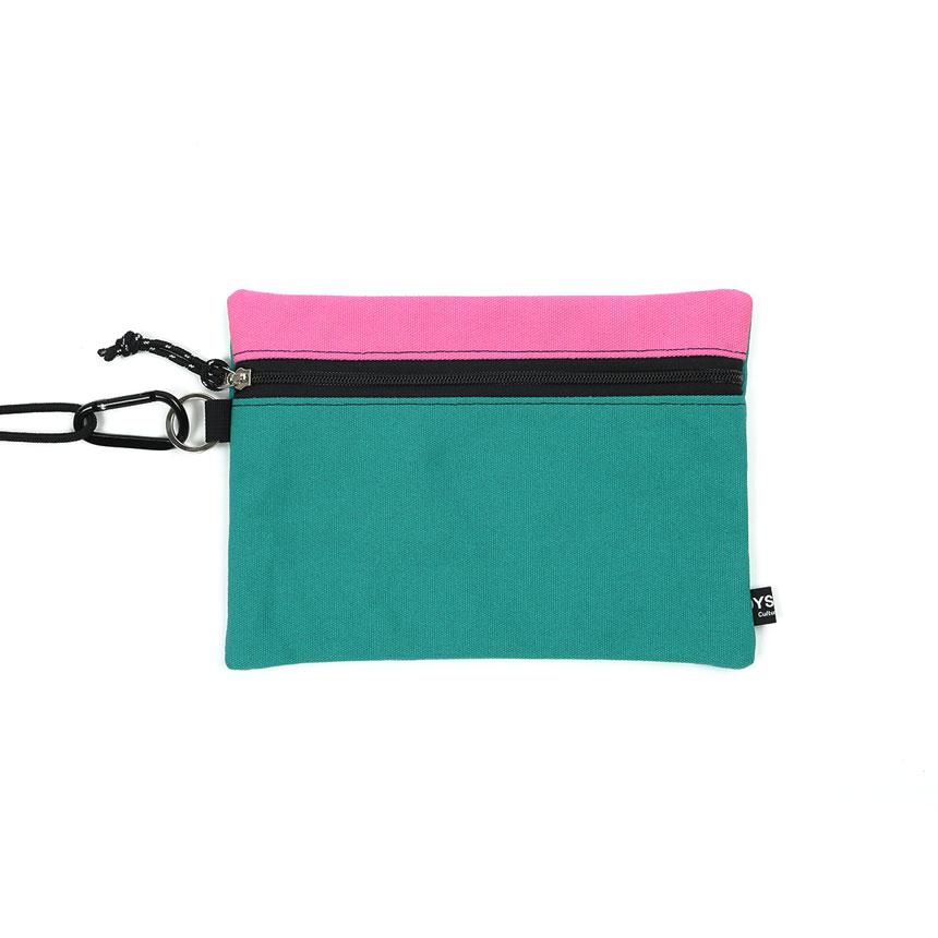 [오이스터컬쳐클럽] 캔버스 라지 투톤 컬러 비너 투톤 파우치 핑크 민트