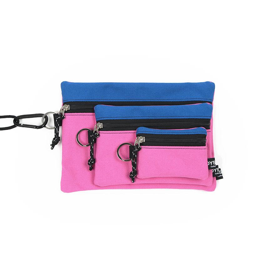 [오이스터컬쳐클럽] 캔버스 파우치 3종 세트 블루 핑크
