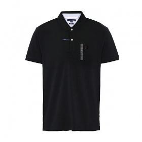 타미힐피거 카라 슬림핏 반팔티 티셔츠 C8178A6141 035 블랙 남녀공용 정품 국내배송