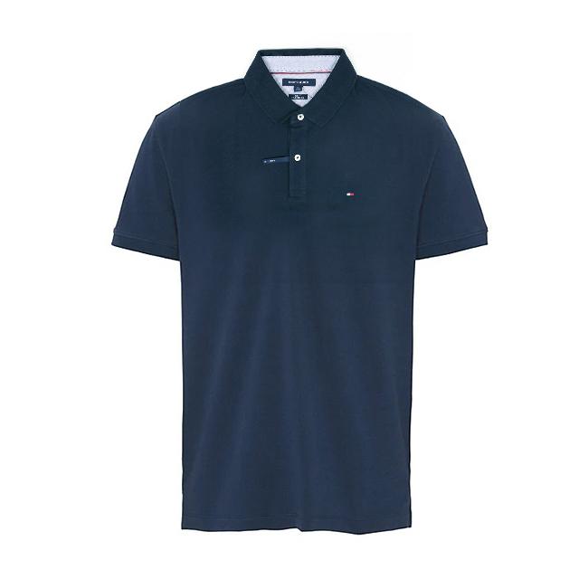 타미힐피거 카라 슬림핏 반팔티 티셔츠 C8178A6141 416 네이비 남녀공용 정품 국내배송
