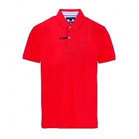 타미힐피거 카라 슬림핏 반팔티 티셔츠 C8178A6141 611 레드 남녀공용