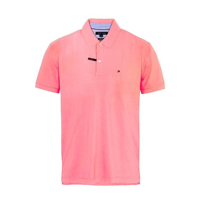 타미힐피거 카라 슬림핏 반팔티 티셔츠 C8378A6374 661 핑크 남녀공용 정품 국내배송