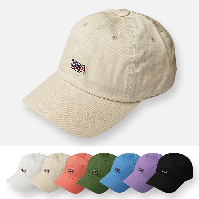 [탑보이] 남여공용 USA자수 파스텔 볼캡 모자 (MIL002)