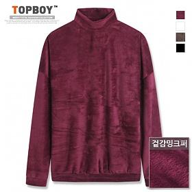 [탑보이] 밍크퍼 반폴라 맨투맨 티셔츠 (LK027)