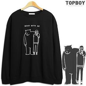 [탑보이] 곰그리고레옹 오버핏 맨투맨 티셔츠 (NS510)