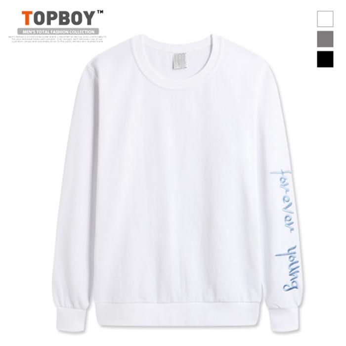 [탑보이] 포에버 자수소매 맨투맨 티셔츠 (MZ126)