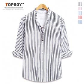 [탑보이] 스트라이프 차이나 7부셔츠 (DL499)