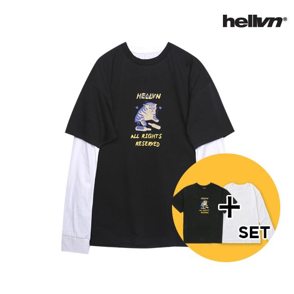 [세트 상품]헬븐 - DRUNK CAT 티셔츠 + 레이어드 쭉티