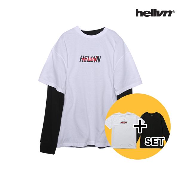 [세트 상품]헬븐 - RED HANDWRITTEN 티셔츠 + 레이어드 쭉티
