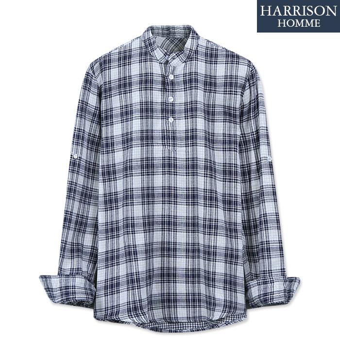 [해리슨] 남자 900체크 헨리넥 셔츠 DB1158