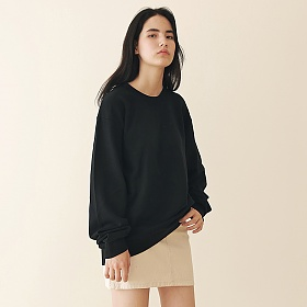 [엠오오] MOO - Minimal Sweatshirt Black 맨투맨 크루넥 스��셔츠