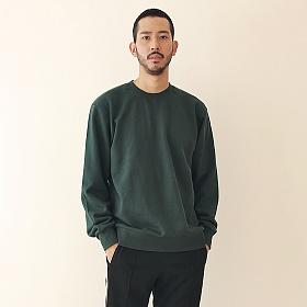 [엠오오] MOO - Minimal Sweatshirt Deep green 맨투맨 크루넥 스��셔츠