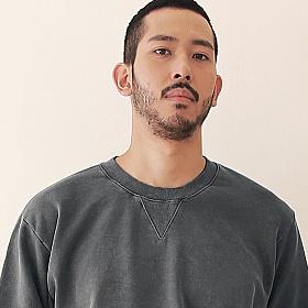 [엠오오] MOO - Minimal Pigment Sweatshirt Dark gray 맨투맨 크루넥 스��셔츠