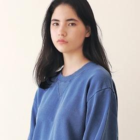 [엠오오] MOO - Minimal Pigment Sweatshirt Indie blue 맨투맨 크루넥 스��셔츠