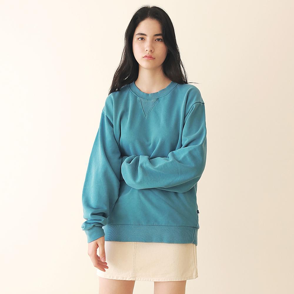 [엠오오] MOO - Minimal Pigment Sweatshirt Bluish green 맨투맨 크루넥 스��셔츠