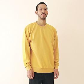 [엠오오] MOO - Minimal Pigment Sweatshirt Mustard 맨투맨 크루넥 스��셔츠