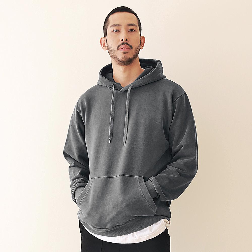 [엠오오] MOO - Minimal Pigment Hood Dark gray 후드 후디