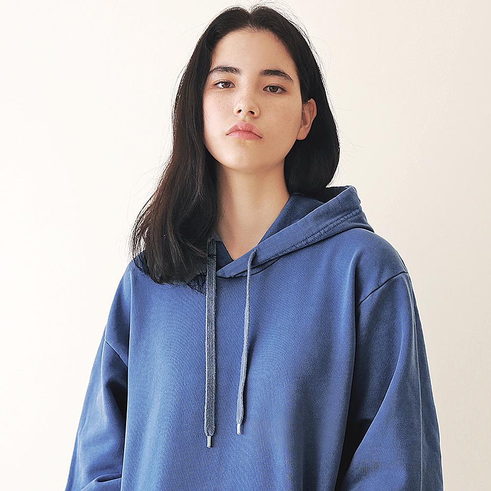 [엠오오] MOO - Minimal Pigment Hood Indie blue 후드 후디