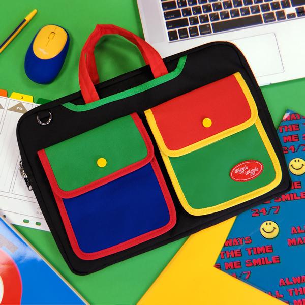 위글위글 - 노트북 투포켓 크로스백 Black /Navy 노트북가방 노트북 파우치