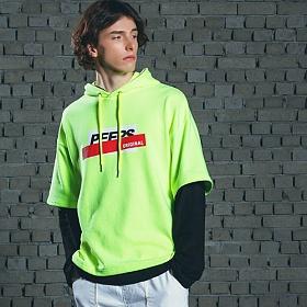 [핍스] PEEPS Layered hoody(neon green)_핍스 후드티