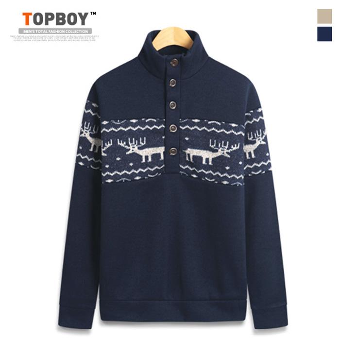 [탑보이] 사슴 라인 넥 버튼 반폴라 니트 (RT498)