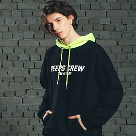 [핍스] PEEPS Mix color hoody(black)_핍스 후드티