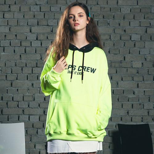 핍스 PEEPS Mix color hoody(neon green) 후드티
