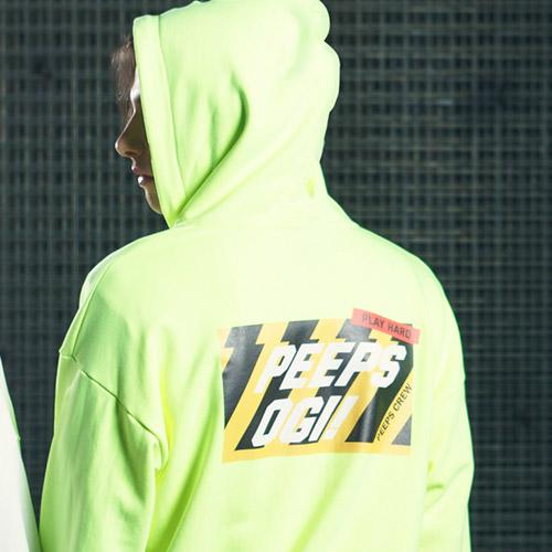 [핍스] PEEPS OGI hood zip up(neon green)_핍스 후드집업