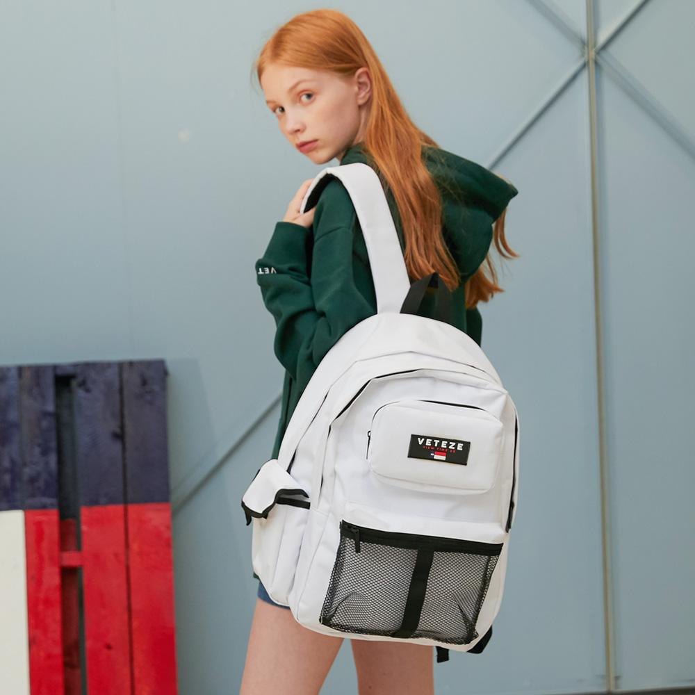 베테제 - Retro Sport Bag (white) 레트로 스포츠 메쉬 백팩 가방 (화이트)
