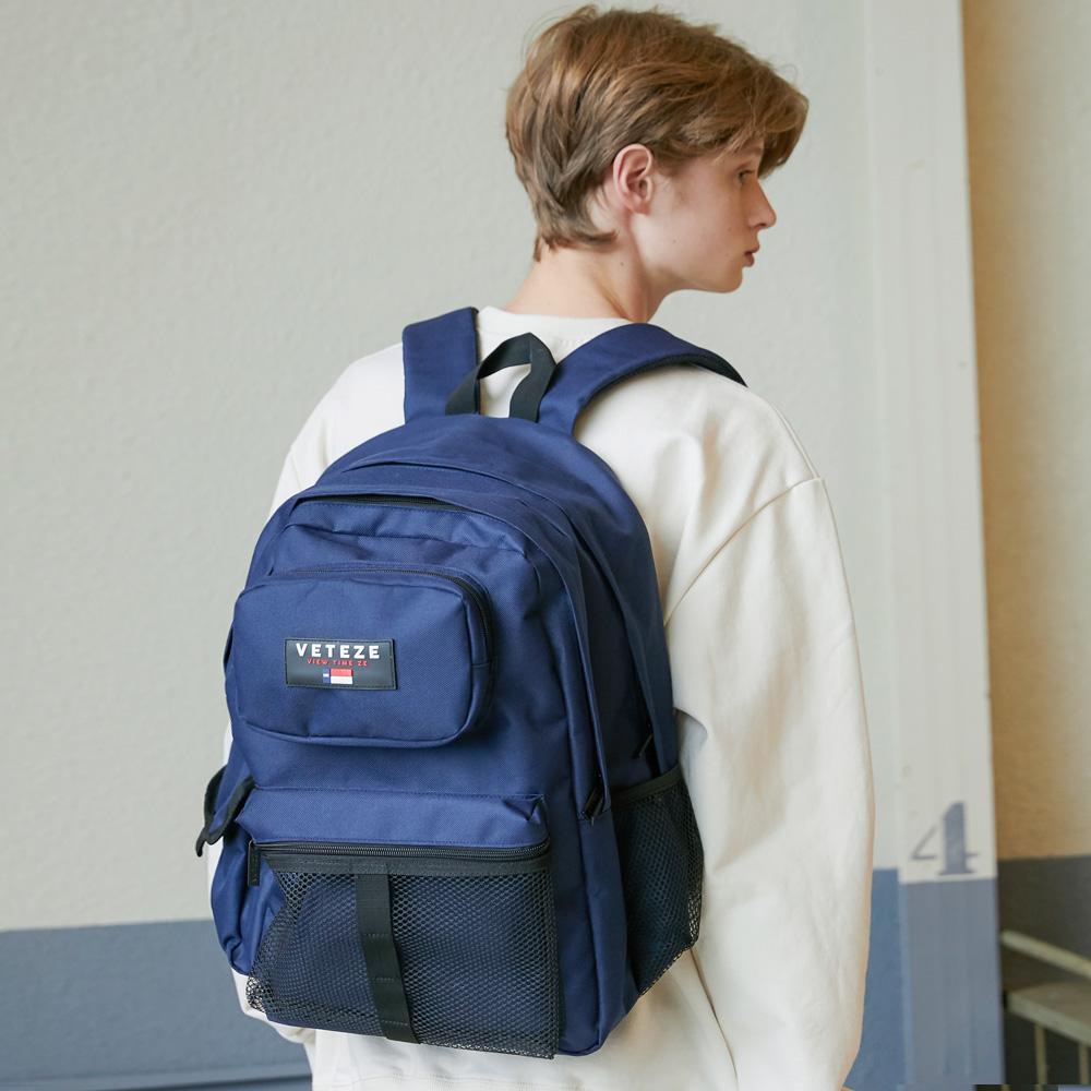 베테제 - Retro Sport Bag (navy) 레트로 스포츠 메쉬 백팩 가방 (네이비)