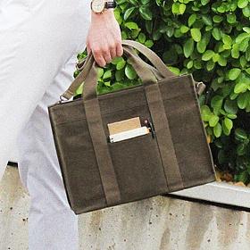 [모노노] MONONO - Square 3 Way Brief Bag (스퀘어 서류가방) (카키) 브리프케이스 토트백 숄더백 크로스백