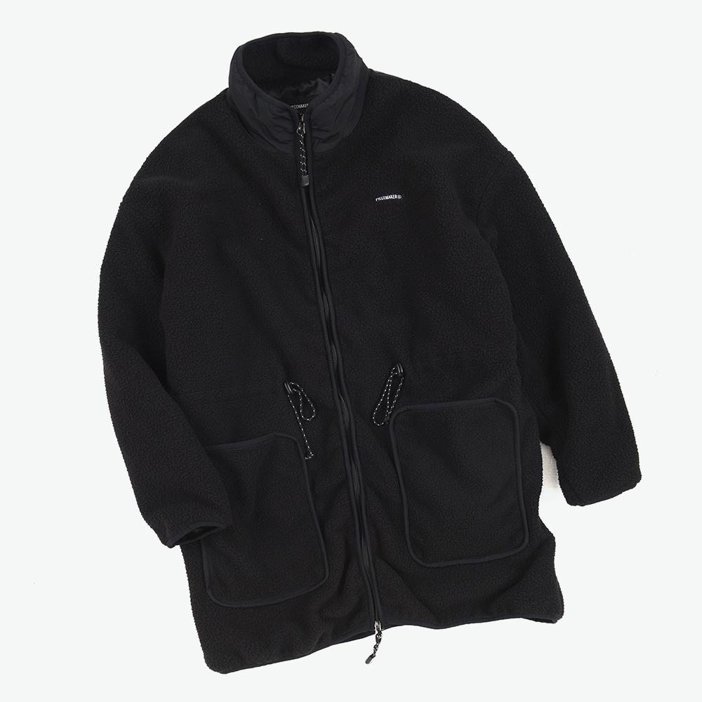 [피스메이커] FLEECE BOA LONG JACKET (BLACK) 플리스 보아 드랍숄더 자켓